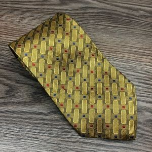 Jos A Bank Gold w/ Red & Blue Check Tie